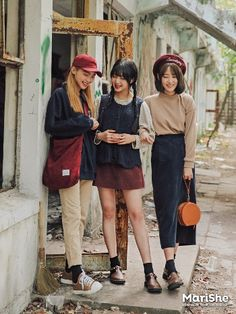korean fashion similar twin look braids navy red cream cute pants
