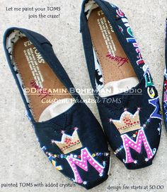 551a307d94f Items similar to Monogram with Crown Design Painted TOMS with bling Toms  included on Etsy