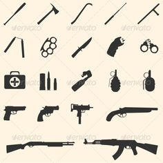 vector weapon icons — JPG Image #first aid kit #grenade • Available here → https://graphicriver.net/item/vector-weapon-icons/5875142?ref=pxcr