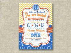 First Birthday Boy Invitation 1st Circus Chevron Subway Vintage Dots Printable - by girlsatplay girls at play via Etsy