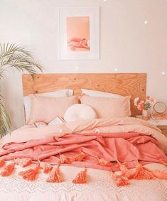 Cute Pink Bedroom Design Ideas - People with flair for the unusual should consider pink for the bedroom. Different shades of pink can be used for coloring walls for your bedroom. Stylish Bedroom, Cozy Bedroom, Bedroom Inspo, Bedroom Apartment, Modern Bedroom, 70s Bedroom, Bedroom Ideas, Master Bedroom, Contemporary Bedroom