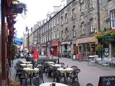 Rose Street, Edinburg.  My photos of this area didn't come out, so I'm posting someone else's.  When I was there, little banners were strung across the road.