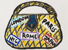 """""""Handbag London, NYC, Paris, Rome, Japan"""" 2009 by Daisy de Villeneuve. Ink on paper 9 x 12 in / 23 x 31 cm."""