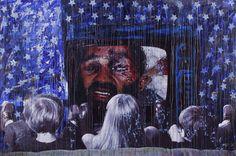 """America TV""  200 x 300 cm  Impresióm digital y acrílico sobre blackout"