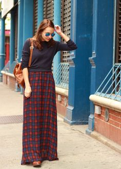 Checkered Maxi / The Steele Maiden: Plaid Maxi Skirt and Mirrored Aviators