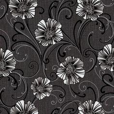 A.S. Creation Liberty Blown Vinyl Dark Grey & White Wallpaper   Departments   DIY at B&Q