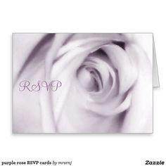 purple rose RSVP cards