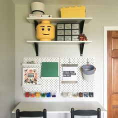 How to ceate a kid friendly DIY LEGO workstation using the IKEA Skadis pegboard system. Spark creativity and imagintion for your little ones! Office Supply Organization, Office Storage, Organization Hacks, Lego Storage, Storage Spaces, Storage Ideas, Yellow Storage, Ikea Ekby, Mops And Brooms