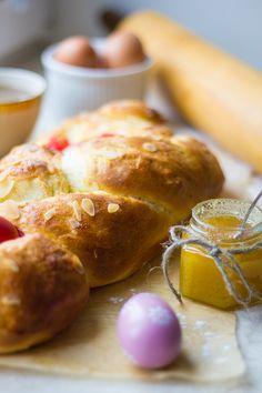 Tsoureki Recipe Greek Easter Bread, Greek Bread, Easter Food, Easter Recipes, Tsoureki Recipe, Red Food Coloring, Greeks, Cherries, Cake Cookies