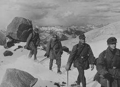 Gebirgsjäger marching through the Caucasus Mountains in 1942.
