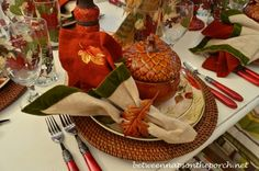 Burlap and Green Velvet Napkins in a Fall Tablescape!!! Bebe'!!! Double napkin adds additional color and the oak leaf napkin ring coordinates well with the acorn bowl!!! Rust straw charger adds natural texture!!!