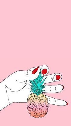 Imagem de pineapple, pink, and wallpaper