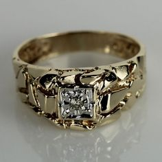 Man of His Word, Gold Nugget Ring with Diamond Accent
