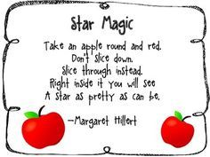 Star Magic Apple Poem by A Grade Teacher Kindergarten Poems, Preschool Poems, Preschool Apple Theme, Apple Activities, Fall Preschool, Preschool Science, Poems About Stars, Apple Song, September Themes