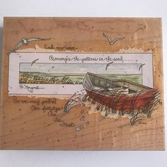 D Morgan Rubber Stamp Boat Scene Beach Ocean Lake Large Wood Mounted 90014 #StampsHappen #ScenewithQuote