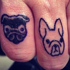 Pug And French Bulldog Finger Tattoos On Someones Boss By Her Husband