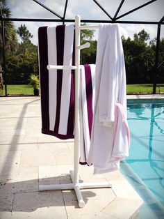 New Pool Spa Towel Rack Premium Extra Tall Towel Tree Outdoor Living Yard PVC | eBay