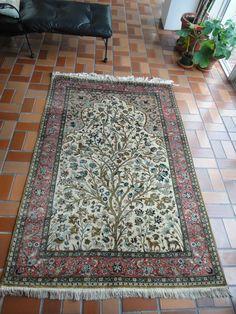 ANTIQUE HAND MADE ORIENTAL CARPET, PERSIAN, QUM, SILK, RUG, TITLED: TREE OF LIFE #Persian