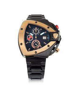 Tonino Lamborghini Black and Rose Gold-tone Stainless Steel Spyder Chronograph #Watch.