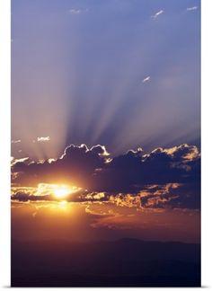 Poster Print Wall Art Print entitled Sun rising behind clouds, silhouetted mountain range, Montana Skier, Mountain Waterfall, Wall Art Prints, Poster Prints, Beautiful Sunrise, Sunset Photos, Amazing Pictures, Mountain Range, Sunrises