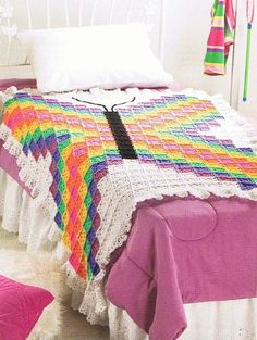 granny+square+butterfly | BRILLIANT BUTTERFLY Pretty Granny Square Afghan CROCHET by ... | Croc ...