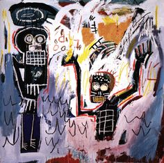 "Auction at Sotheby's evening, Nov. 17, 1999,Lot 59 ""Baptismal,"" by Jean-Michel Basquiat, acrylic,  oilstick and paper collage on canvas, 96 by 96 1/8 inches, dated 1982  In this superb Basquiat, which has a conservative high estimate of $900,000, the skeletal figure with a halo at the left rises above a supplicant being baptized. It sold for $1,432,500."
