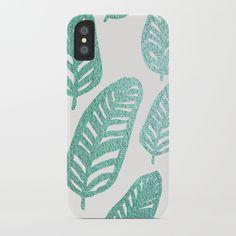 Bright green and blue leaves iPhone Case by catarinamendes | Society6