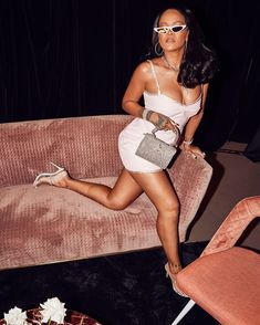 Rihanna is the gift that keeps on giving. Not only did she launch some incredible beauty exclusives on her Fenty Beauty World Tour, but also she slayed her look Rihanna Daily, Rihanna Riri, Rihanna Style, Rihanna Fashion, Pink Mini Dresses, Pink Dress, Snake Print Dress, Bad Gal, Pink Fashion
