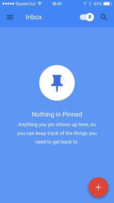 Nothing pinned in in 'Inbox by @google' for iPhone.