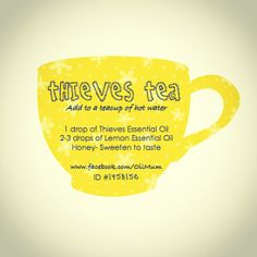 Thieves Tea // Young Living Essential Oils // Combatting congestion, flu, sore throats and naturally //Follow me at www.facebook.com.OilMum