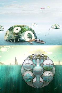 Unusual futuristic architecture.