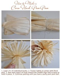 how to make corn husk pom pom Easy Fall Crafts, Thanksgiving Crafts, Diy Crafts For Kids, Holiday Crafts, Kids Diy, Thanksgiving Decorations, Handmade Flowers, Diy Flowers, Paper Flowers