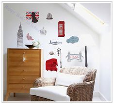& London lighthouse Tower bedroom living room wall stickers home decoration landscape wall decals Mural Art poster wallpaper Nursery Wall Stickers, Removable Wall Stickers, Wall Decor Stickers, Wall Art Decor, Wall Decals, 3d Wall, Wall Stickers London, Living Room Bedroom, Bedroom Decor