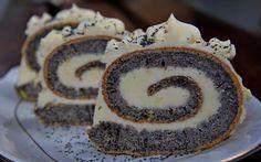 Maková  roláda s citrónovým  krémom Russian Cakes, Russian Desserts, Russian Recipes, Dessert Drinks, Dessert Recipes, Eclairs, Czech Recipes, Famous Recipe, Food Crush