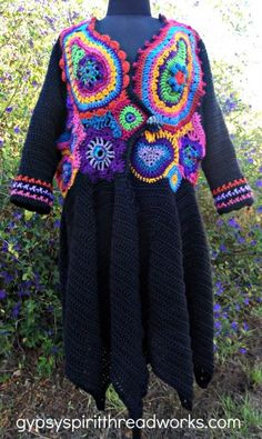 Marrakesh Express front view; freeform crochet sweater coat by Barbara Wunder Hynes