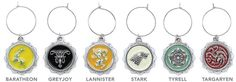 ThinkGeek :: Game of Thrones House Sigil Wine Charms