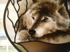 Wolf Spirit 'Winter Wolf' stained glass window with hangers
