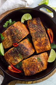 Blackened salmon with bold spices is a tasty dinner made in just 15 minutes! Apply a quick dry season blend to each fish fillet, then pan fry until a flavorful dark crust appears on the surface. It's that easy! Salmon Recipes, Fish Recipes, Seafood Recipes, Salmon Food, Chicken Recipes, Easy Healthy Dinners, Healthy Dinner Recipes, Healthy Snacks, Frases