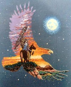 Needlepoint on plastic canvas Indian and Eagle picture