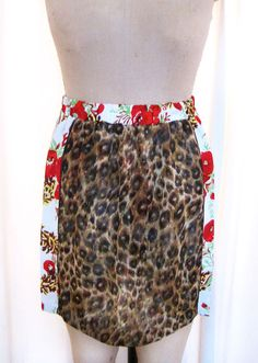 Flora Skirt, White, Red, Green, , floral print,leopard, high waist, full skirt, vintage, repurposed, 1950s #mildaDesigns #turban #turbans #magic #art #bridal #bride #GreatGatsby #Gatsby #flapper #1920s