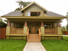 The Bungalow style developed out of the Arts & Crafts movement. With its generous and deep front porch anchored by tapered columns, the heft and earthiness of this porch form truly set it apart.