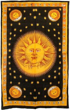 "Celestial Sun, Moon & Stars Black & Gold 100% Cotton Hand-Loomed Hippie Tapestry Bedding Bedspread Wall Hanging 72"" x 108""  http://4rissa.storenvy.com/collections/652117-tapestries-bedding/products/6592522-celestial-sun-moon-stars-100-cotton-tapestry-bedspread-throw-blanket-72-x"