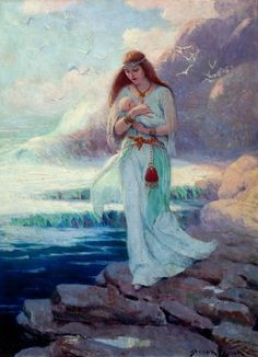 free shipping classical seaside Mother holding baby court  oil painting canvas prints on canvas home wall art decoration picture