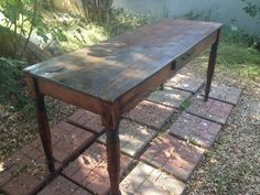 $550 Antique wooden farm table - great scale for a kitchen island