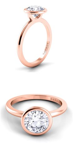 Per Lei bezel set engagement ring in 18k rose gold. www.danhov.com