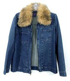 Denim & Co. Faux Fur Collar Womens Jean Jacket