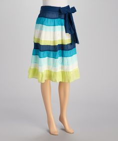Take a look at this Green & Blue Stripe Skirt by Papillon Imports on #zulily today!