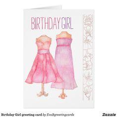 Shop Birthday Girl greeting card created by EvaBgreetingcards. Custom Thank You Cards, Custom Greeting Cards, It's Your Birthday, Girl Birthday, Watercolor Illustration, Watercolour, Thank You Greetings, Birthday Greeting Cards, Paper Texture