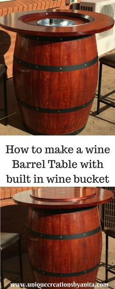 How to make a wine barrel table with a built in wine bucket. How to make a wine barrel table with a built in wine bucket. Custom Woodworking, Woodworking Projects Plans, Woodworking Furniture, Diy Home Decor For Apartments, Wine Bucket, Rustic Home Interiors, Diy Wood Projects, Barrel Projects, Wood Crafts
