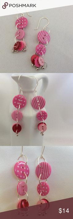 """Cute as a Button in Pink and White These adorable earrings are made using buttons, wire, and a metal bead. They are very light weight and fun to wear. These earrings measure just over 2 1/2"""". Becky Barnes Designs Jewelry Earrings"""